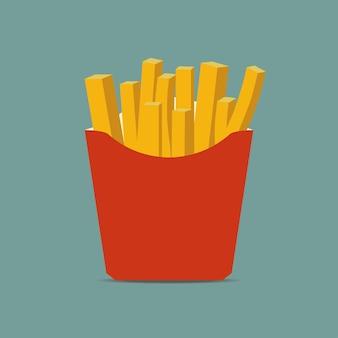 Frytki w papierowym pudełku. ziemniak fast food w czerwonym opakowaniu. ilustracja wektorowa.