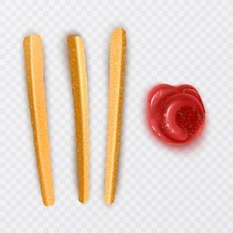 Frytki z sosem chili i keczupem w realistycznym stylu, na białym tle.