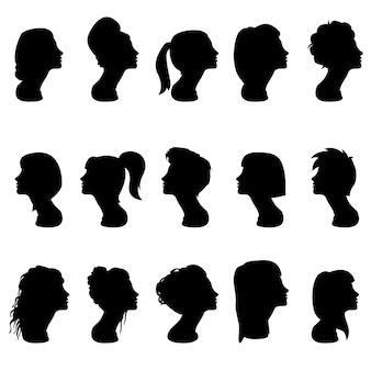 Fryzjer kobieta głowa sylwetka wektor clipart