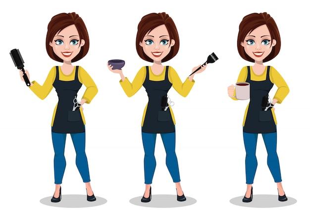 Fryzjer kobieta w profesjonalnym mundurze
