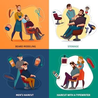 Fryzjer męski ilustracja kreskówka koncepcja sklepu