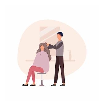 Fryzjer mężczyzna robi włosy dziewczyny w salonie fryzjerskim obok lustra. koncepcja usług salon fryzjerski, salon kosmetyczny, studio urody. pielęgnacja urody i włosów, strzyżenie. ilustracja kreskówka płaski wektor.