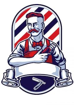 Fryzjer mężczyzna trzyma odznakę maszynki do strzyżenia