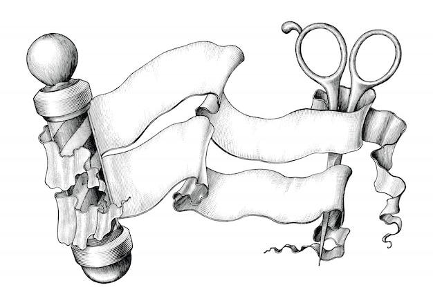 Fryzjer sklep logo ilustracja styl vintage czarno-biały clipart na białym tle