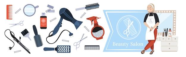 Fryzjer w mundurze trzymając nożyczki nowoczesny salon kosmetyczny koncepcja narzędzia i akcesoria kolekcja pozioma pełnej długości ilustracji wektorowych