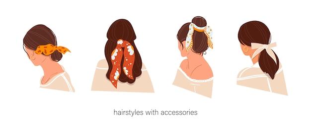 Fryzury damskie z akcesoriami na na białym tle. fryzury z szalikiem. instrukcja korzystania z chusty.