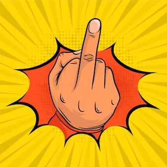 Fuck you symbol w komiksowym stylu