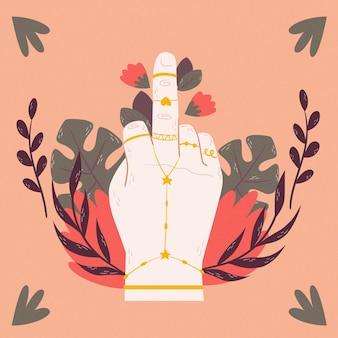 Fuck you symbol z kwiatami i liśćmi