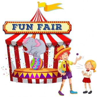 Fun fair show na białym tle