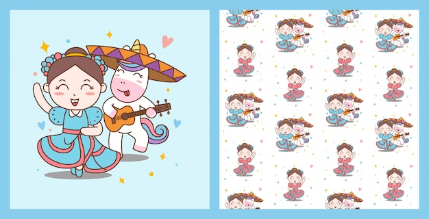 Fun girl and unicorn dance mariachi i wzór