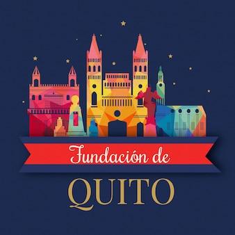 Fundacion de quito z kolorowymi punktami orientacyjnymi