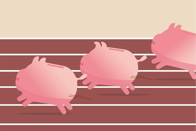 Fundusze inwestycyjne, wyniki inwestycji w akcje lub oszczędności, koncepcja zysku biznesowego, różowe skarbonki, które szybko osiągają cel, rywalizują na torze wyścigowym i polowym, aby wygrać grę o pieniądze.