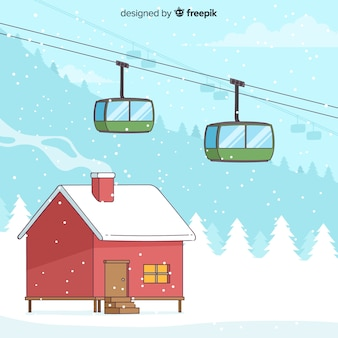 Funicular winter background