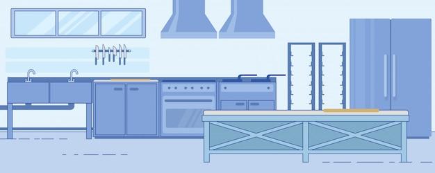 Funkcjonalny nowoczesny układ kuchni komercyjnej