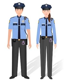 Funkcjonariuszi policji samiec i kobieta odizolowywający na bielu