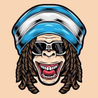 Funky logo małpy dredy