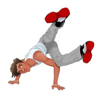 Funny breakdance wektor odizolowane znaków