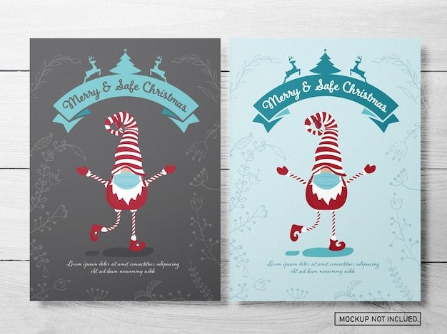 Funny christmas greeting card layout