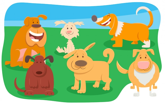Funny dogs and puppies pet animal characters group