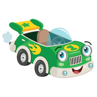 Funny green racing car pozowanie