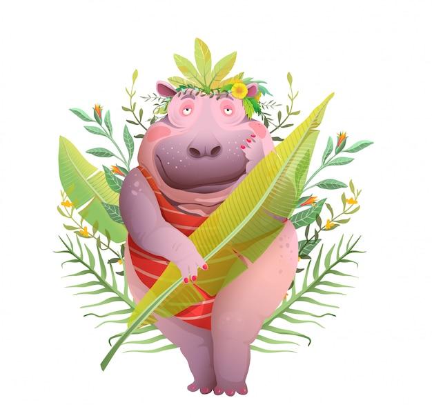 Funny pretty hippopotamus lady in jungle leaves, romantyczny nastrój kreskówki. ciało pozytywna królowa dżungli, ładna karykatura hipopotama. projekt w stylu akwareli.