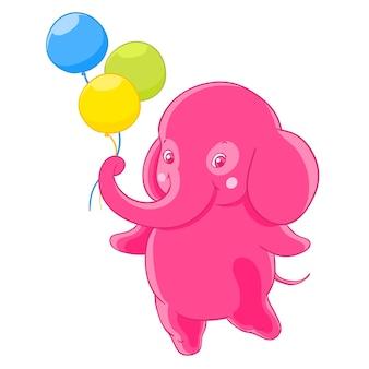 Funny różowy słoń daje trzy balony.
