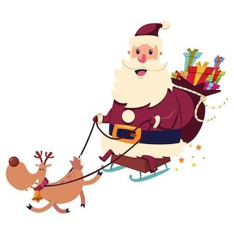 Funny santa claus leci na saniach ze szczęśliwym workiem reniferów i prezentów