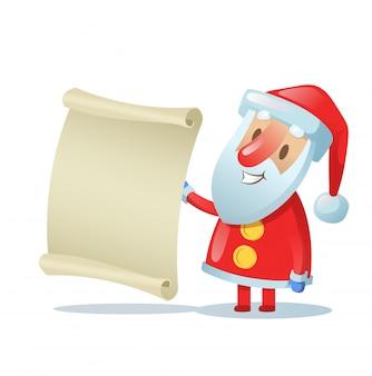 Funny santa trzyma pusty zwój. kolorowa ilustracja. na białym tle.