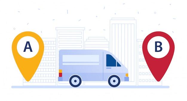 Furgon dostawczy wysyłający ładunek według trasy dostawy.