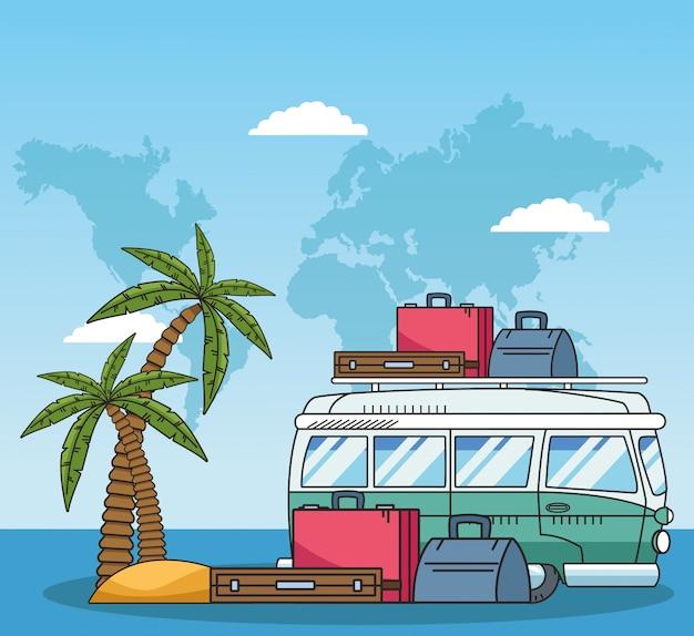 Furgonetka podróżna z walizkami i wzorem podróży po świecie