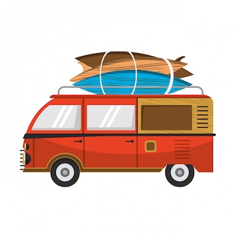 Furgonetka vitnage z kreskówkowym stołem surfowym