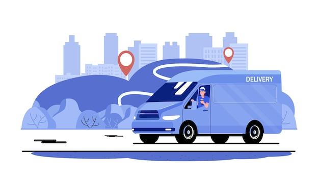 Furgonetka z kierowcą na drodze na tle wiejskiego krajobrazu. ilustracja wektorowa płaski.