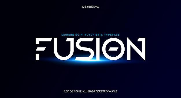 Fusion, abstrakcyjna nowoczesna minimalistyczna geometryczna futurystyczna czcionka alfabetu.