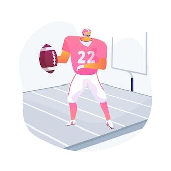 Futbol amerykański abstrakcyjna koncepcja ilustracji wektorowych. sport zespołowy, zwycięzca mistrzostw, gra, przyłożenie, boisko treningowe, siła pracy zespołowej, liga zawodowa, abstrakcyjna metafora rugby.