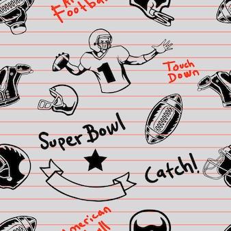 Futbol amerykański bezszwowe marker doodle wzór na papierze
