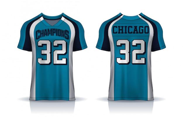 Futbol amerykański jersey, t-shirt sport design template.uniform widok z przodu iz tyłu.