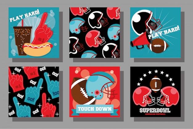 Futbol amerykański sport ustawić ikony