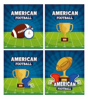 Futbol amerykański z zestawem ilustracji dekoracji