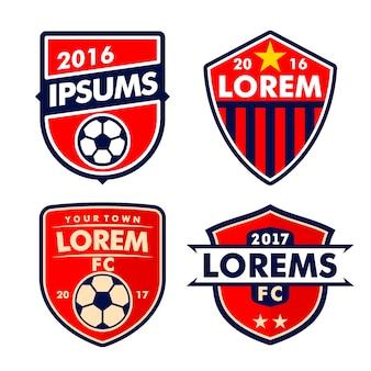 Futbolowy logo i odznaka ustawia odosobnionego w białym tle