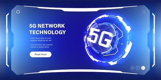 Futurystyczna abstrakcyjna ilustracja sieci komórkowej 5g na stronę internetową, plakat, baner.