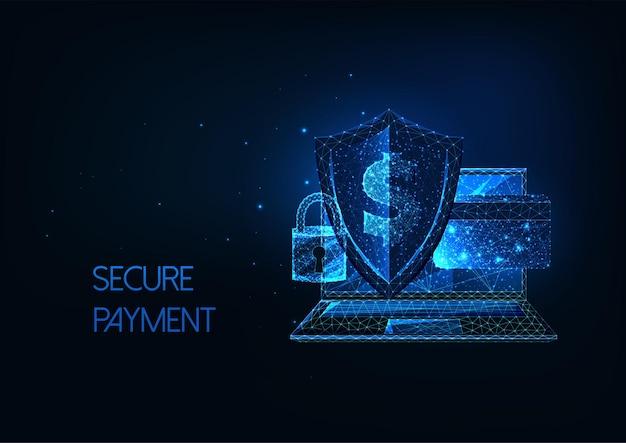 Futurystyczna bezpieczna płatność, koncepcja bankowości internetowej z laptopem, sheldem, zamkiem, kartą kredytową i dolarem