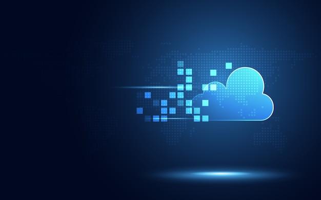 Futurystyczna błękitna chmura z piksel cyfrowej transformaci technologii abstrakcjonistycznym tłem