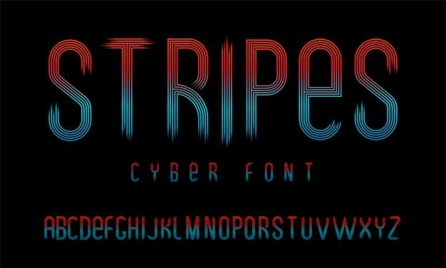 Futurystyczna cyber czcionka składająca się z równoległych linii z przezroczystym gradientem na krawędziach