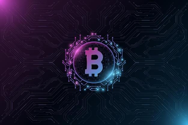 Futurystyczna cyfrowa waluta bitcoin. duże dane procesora. koncepcja wydobywania kryptowalut. zaawansowany technologicznie blockchain. płytka drukowana komputera.