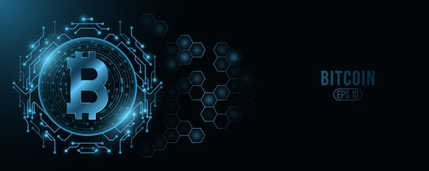 Futurystyczna Cyfrowa Waluta Bitcoin. Premium Wektorów