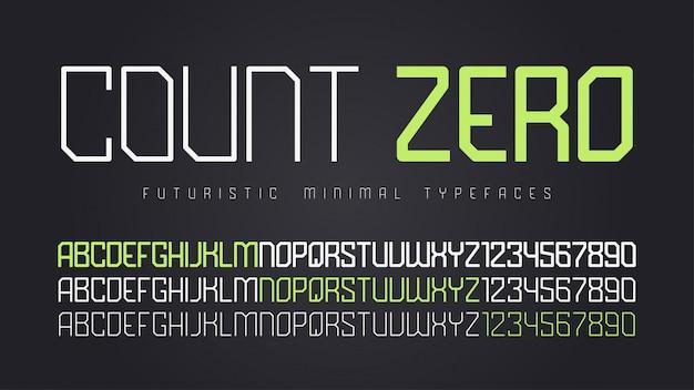 Futurystyczna czcionka, alfabet, zestaw znaków