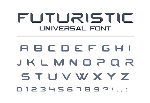 Futurystyczna czcionka uniwersalna. geometryczny, przyszły alfabet techno. litery i cyfry dla wojska, przemysłu, technologii, sportu wyścigowego, logo samochodu elektrycznego. nowoczesny, minimalistyczny krój