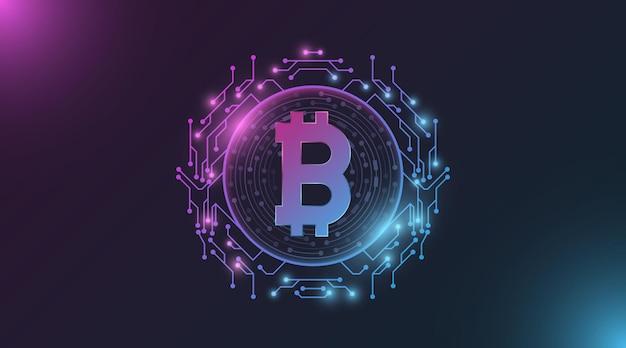 Futurystyczna fioletowo-niebieska świecąca cyfrowa waluta bitcoin.