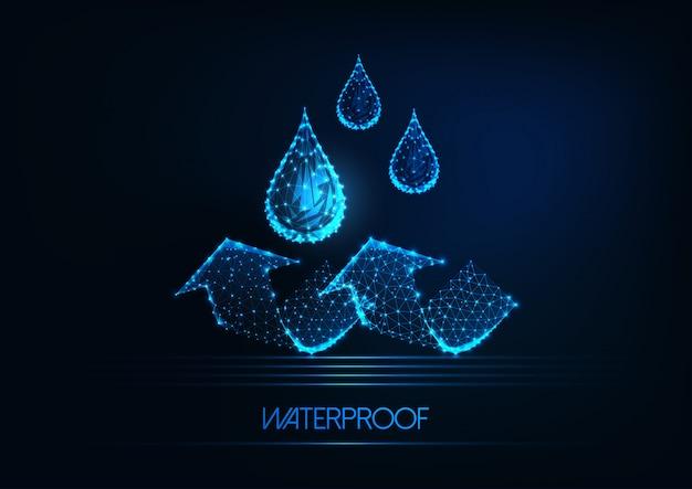 Futurystyczna hydroizolacja. świecące krople wody low poly i strzałki na ciemnym niebieskim tle.