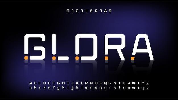 Futurystyczna i cyfrowa technologia, nowoczesne czcionki alfabetu